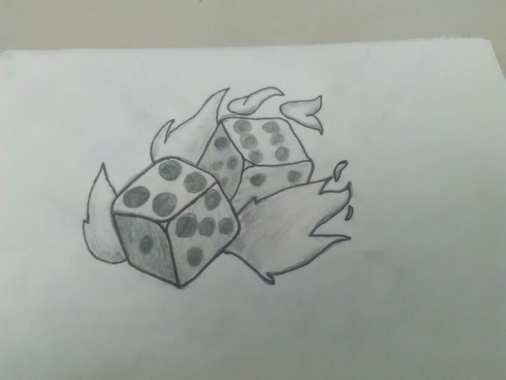 My drawing of flaming dice