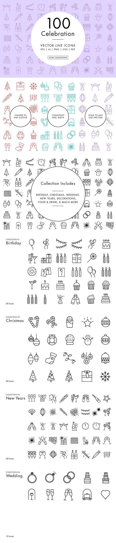 Line Icon – Celebration. Wedding Card Templates