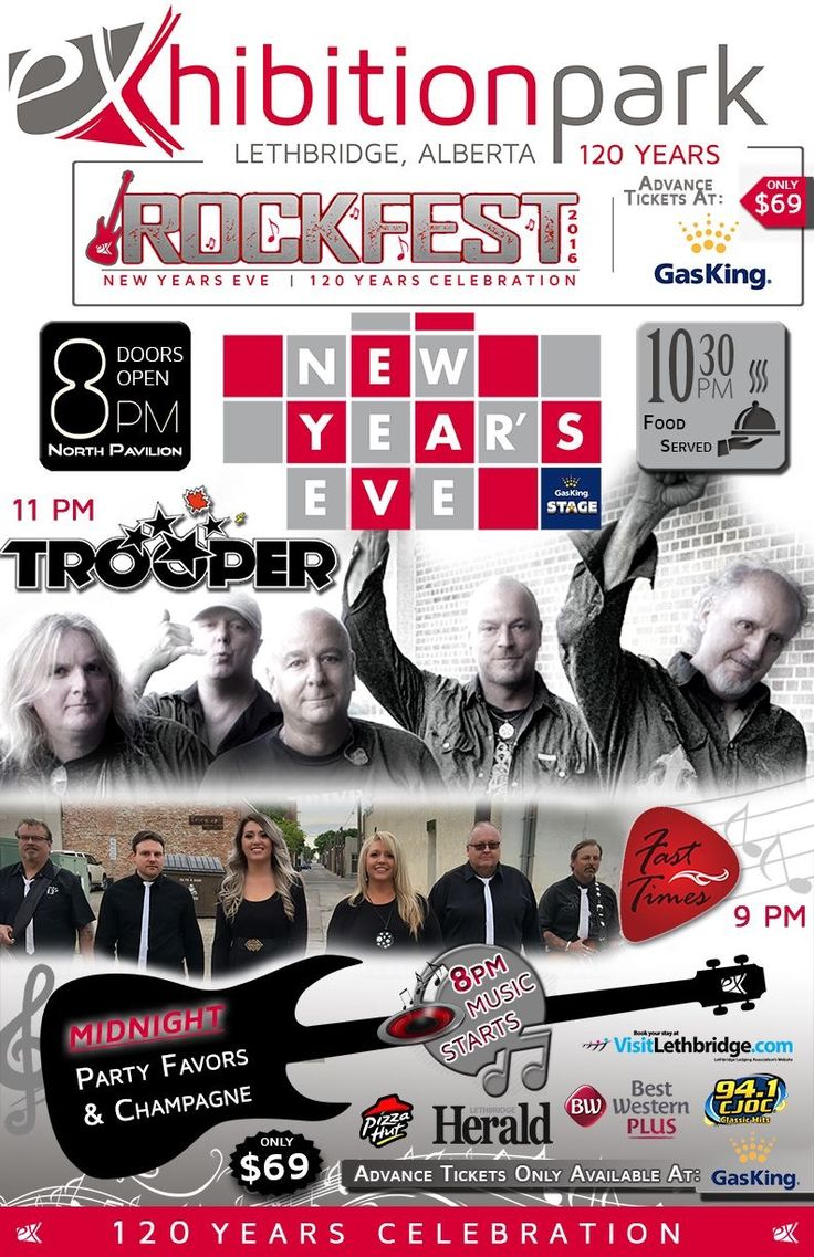 Ticket are going fast for the Rockfest - 120 Year's Celebration - New Year's Eve Party with Trooper (Official)!  More: exhibitionpark.ca  #yql #lethbridge #ItsAtTheEX #NYE #NYE2017 #TROOPER  *Advance tickets only at Lethbridge & Picture Butte Gas King locations.*