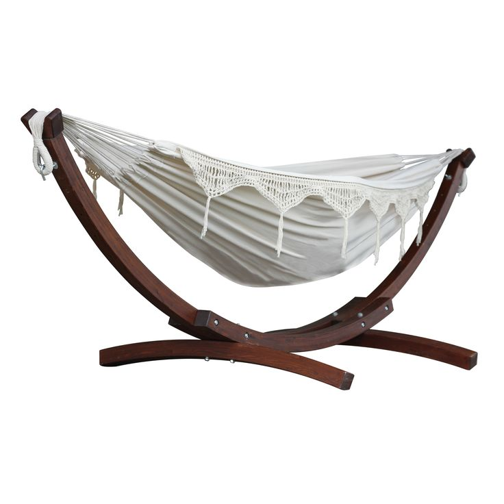 Cotton Hammock with Stand by Vivere Hammocks at Wayfair.com - $239.97 and has a 450lb weight limit
