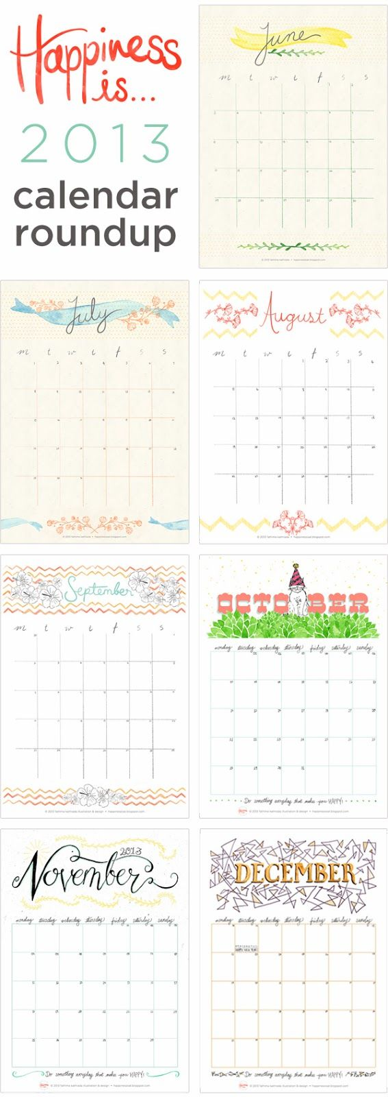 Happy New Year!   Free January Calendar Planner and roundup of 2013 calendars by Happiness is...