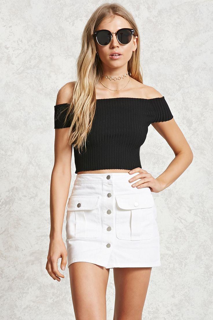 Buttoned Denim Mini Skirt