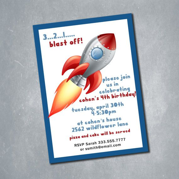 $10 Custom Rocket Ship Party Red and Blue Birthday Invitation. One sided Digital File. || Etsy Shop: MeghansView