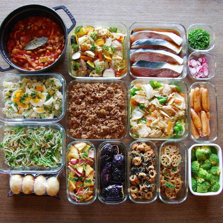 ポークビーンズ/チキンと秋野菜のグリル/ブリ照り焼き(焼く前)/刻みパセリ/ラディッシュ/ポテサラ/タコミート/回鍋肉/焼きウインナー/豆苗とザーサイナムル/味玉/さつまいもとベーコンのサラダ/なす揚げ浸し/ちくわ入り切干大根とひじきの煮物/れんこんのバルサミコ炒め/ゆでブロッコリー . #作り置き #常備菜 #おかず #つくりおき #つくおき #ストックおかず #料理 #クッキングラマー #cooking #instafood #foodphoto #staub #ストウブ #うちごはん #ごはん #instacook #instahomemade #delistagrammer #homecooking #cookingram #food #cooking #kurashiru