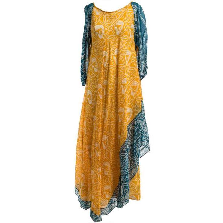 1970's Troubadour London Ethnic Print Dress 1