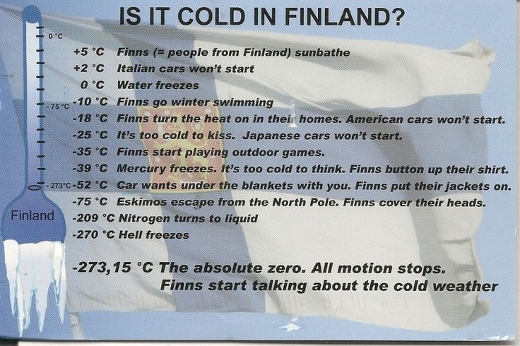 Funny, but sadly not true. Finns don't talk to each other. — Fan submission, thanks Ilmari