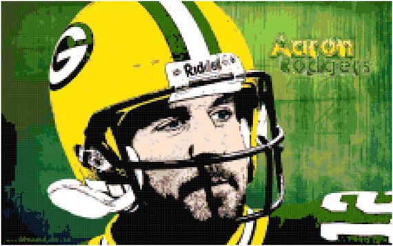 Aaron Rodgers Packers Cross Stitch Printable Needlework Pattern - DIY Crossstitch Chart, Relaxing Hobby, Instant Download PDF Design