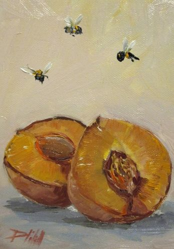 Peach with Bees, painting by artist Delilah Smith