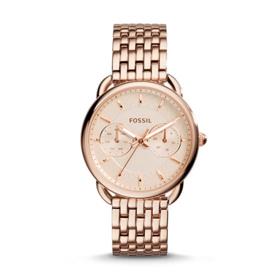 The beauty is in the details with our most noteworthy multifunction for spring. With a minimalist design taken to the max, Tailor delivers fresh femininity with a seven-link bracelet, classic rose-tone plating and an eye-catching spirographic dial.