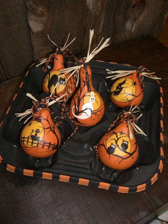 Set 5 Halloween Gourd Ornaments Hand Painted Folk by TheRootCellar, $24.00                                                                                                                                                     More