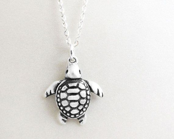 Little sea turtle necklace - sterling silver  sea turtle jewelry via Etsy
