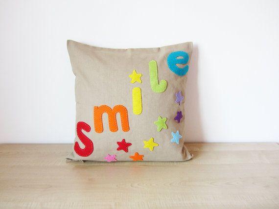 Cushion Cover  Rainbow Smile by MadeByEdenGrace on Etsy, £15.00