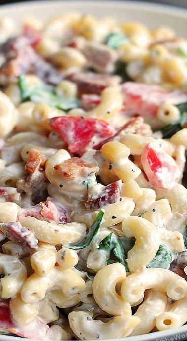 BLT Macaroni Salad 8 pieces of bacon 16oz pasta 1c baby spinach 1tsp garlic powder 1c tomato 1c mayo 1 1/2 tsp black pepper 1 tsp salt 3 tbsp rice vinegar