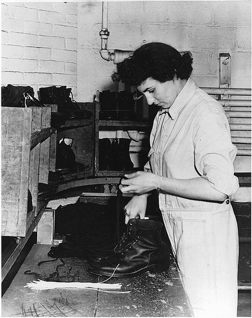 Repairing boots for soldiers, Canadian Women's Army Corps, c.1938-45 ~