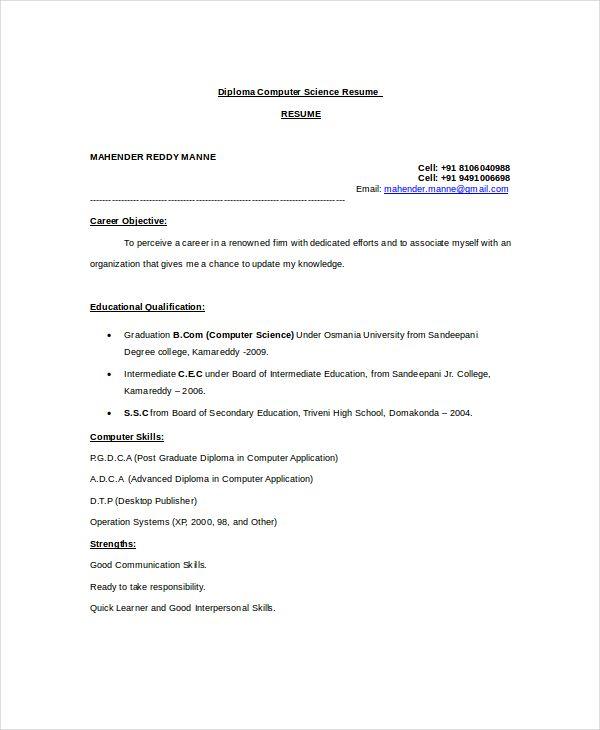 resume sample diploma holders