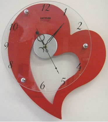 Red Heart Shaped Clock