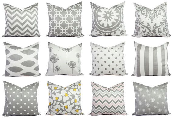 Pick two decorative throw pillow covers in a grey and white print. These grey cushion covers fit a 16 x 16 pillow insert and are 100% cotton.