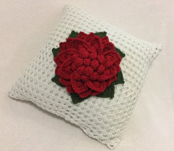 Crochet pillow flower pillow decorative crochet by JilaCrochet