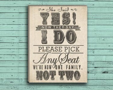 Wedding Seating Sign  Pick a Seat Not a Side by DesignerCanvases, $17.00