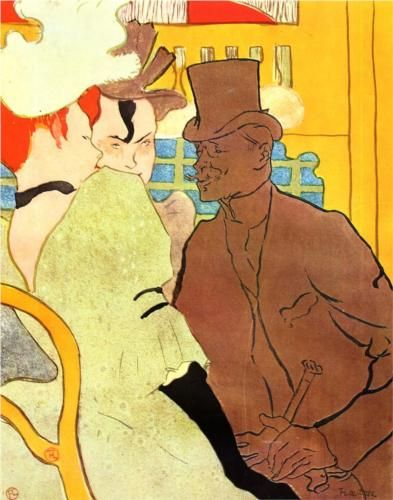 """The Englishman at the Moulin Rouge""  Artist: Henri de Toulouse-Lautrec    Completion Date: 1892    Style: Art Nouveau (Modern)    Genre: oil painting    Dimensions: 90 x 64 cm    Gallery: Private Collection"