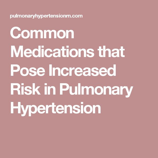 Common Medications that Pose Increased Risk in Pulmonary Hypertension