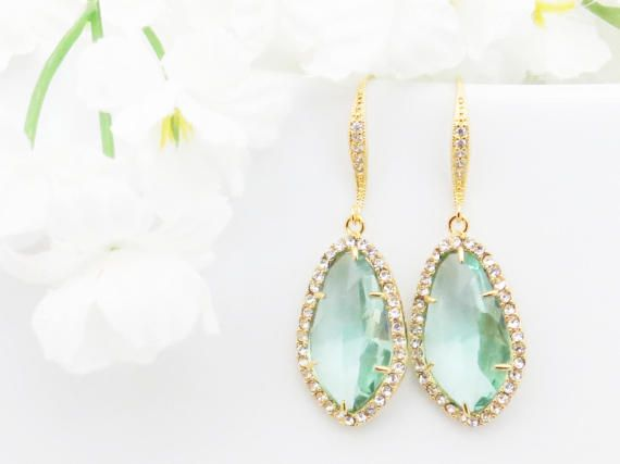 Gift for Wife Bridesmaids Gift Crystal Earrings Aquamarine