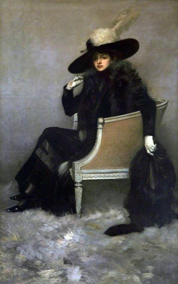 ▴ Artistic Accessories ▴ clothes, jewelry, hats in art - Pilade Bertiere | Lady in Black Furs (La dame aux fourrures noires), 1914