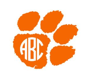 4 Clemson Tiger Paw Monogram Decal by AnchoredSoulDesigns on Etsy, $5.00
