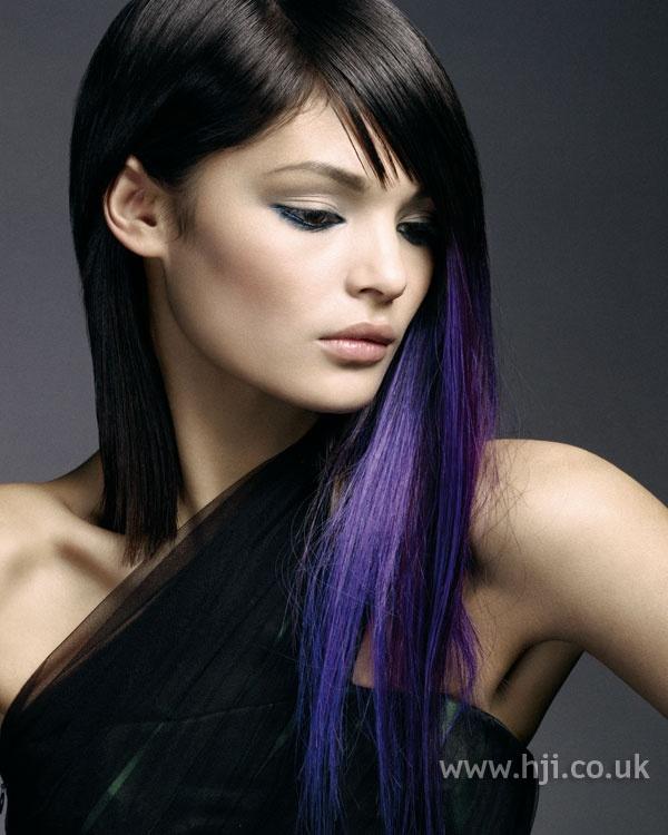 purple streaks underneath dark hair hair pinterest