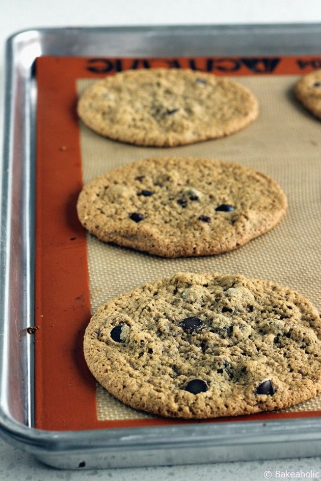 "Crispy Almond Butter Chocolate Chip Cookies from ""Oh She Glows"""
