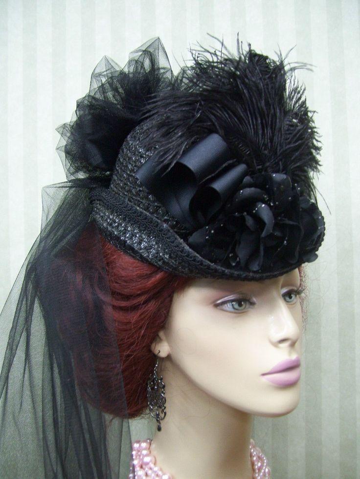 Victorian Ladies-Civil War-Derby-Lolita-Neo Victorian-Steampunk-Black-Hat