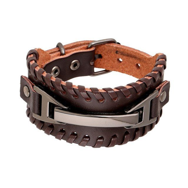 Punk Brown Braided Leather Wide Bracelet