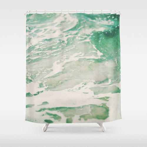 Shower Curtain, Hemlock Mint Green & Sea from Nature | City