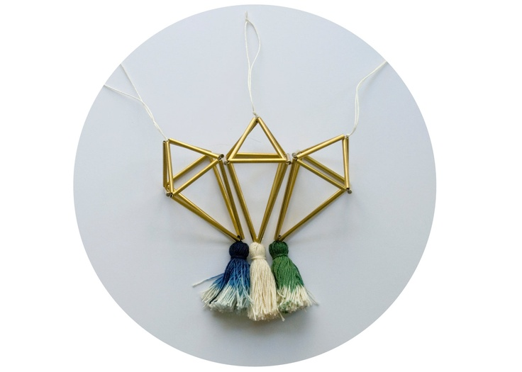 Brass ornament with ombre tassel: Traditional himmeli ornament made from brass. RallyMade