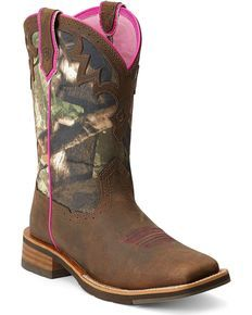 Ariat Unbridled Camo Cowgirl Boots - Square Toe, Brown