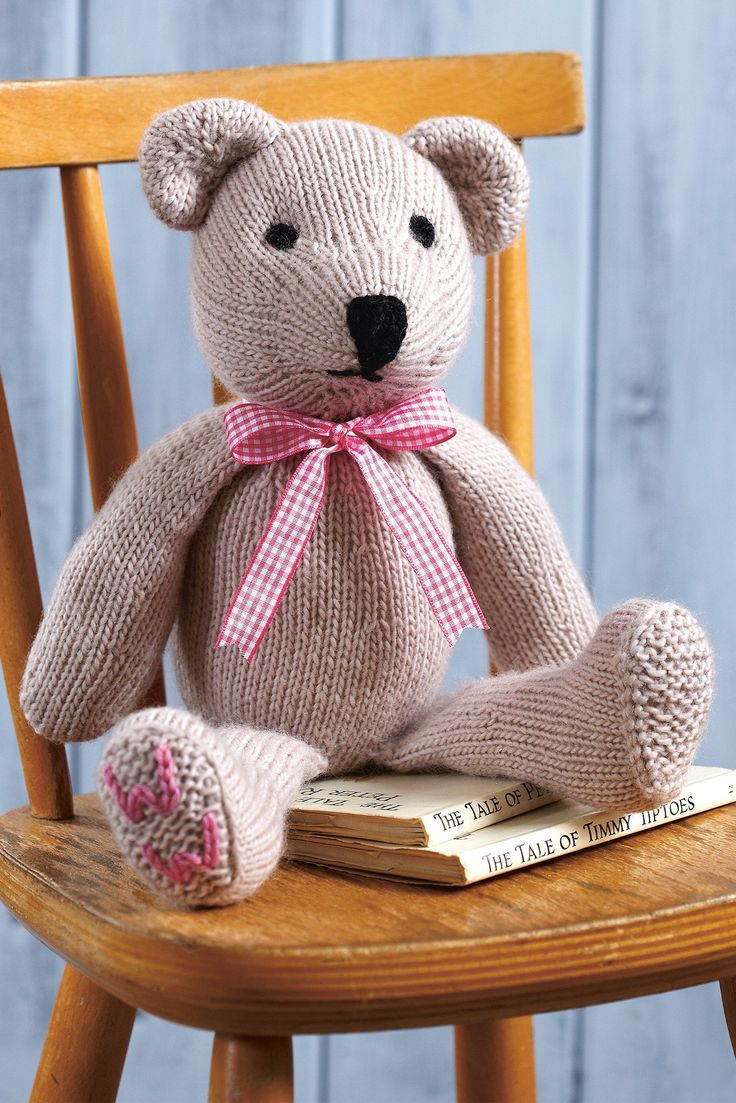 Knitted Woman's Weekly bear with initials on foot and gingham bow tie