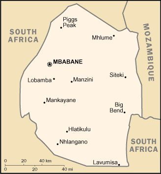 Country of Swaziland Map
