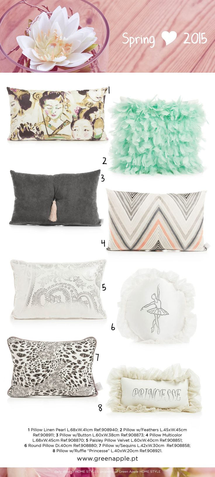 Green Apple HOME STYLE ♥ Spring 2015 #InspiringCollections #InteriorDecoration #Furniture #Portugal #Spring #Pillow #ThrowPillows