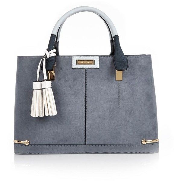 River Island Light blue structured tote bag (4.335 RUB) via Polyvore featuring bags, handbags, tote bags, blue, river island, structured handbag, structured tote, light blue purse и blue handbags