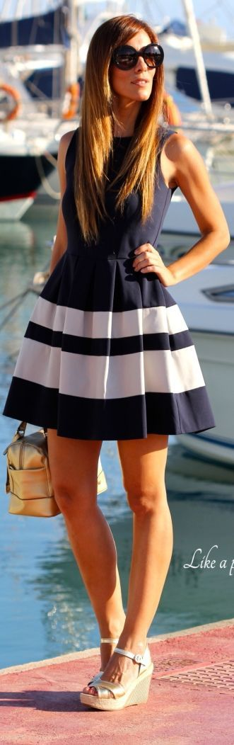 Kuka & Chic Navy And White Stripe Pleated Skirt Skater Dress by Like A Princess Like.... Kuka