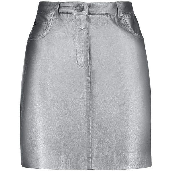 Pierre Balmain - Metallic Leather Mini Skirt (€365) ❤ liked on Polyvore featuring skirts, mini skirts, gunmetal, button skirt, genuine leather skirt, leather miniskirt, real leather belts and pierre balmain