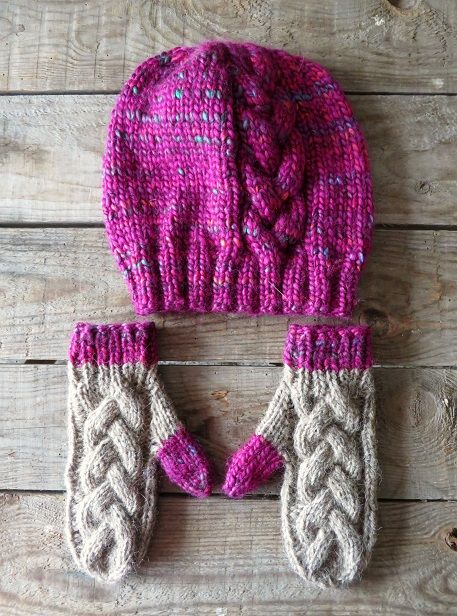 Eksperymenty z drutami: Czapka i rękawiczki z warkoczem