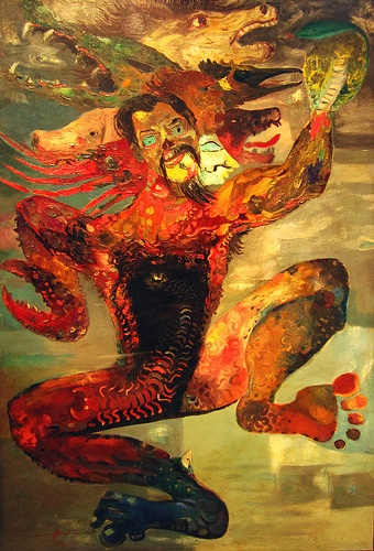 Demon Inside (by Hendra Gunawan @ OHD Museum, Magelang). Hendra Gunawan (1918-1983) was an Indonesian naturalist maestro-painter. Besides being a painter, he was also an expert in scuplting and poetry. Having had been sent to prison because allegedly being close to the communists, he persistently indulged himself in the art realm. This painting might mean that there is a demon -in any form- inside every individual. FYI, one of his paintings in Christies worth for 613.000 Euro, WOW!