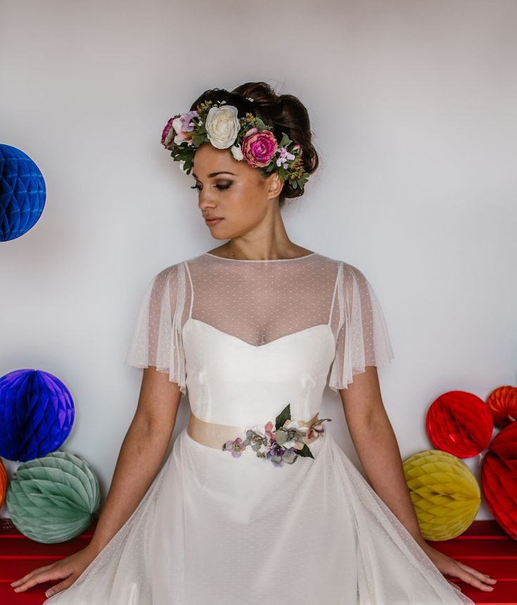 Lauren wearing gorgeous polka dots from Rachel Burgess Bridal Boutique and floral crown by Sweet Peony. Props from The Wedding Spark