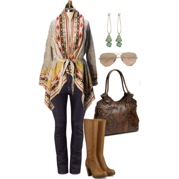 Tribal Trend - Plus Size. Jeans definitely don't look plus size, but I like.