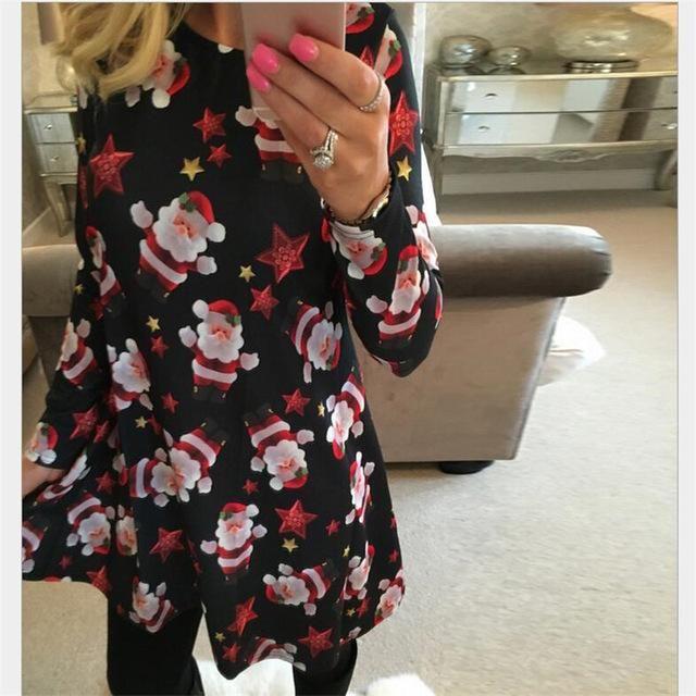 New Arrival 2018 Autumn Fashion Elegant Plus Size Women Clothing Casual Christmas Print Dresses A-Line Dress Vestidos Large Size