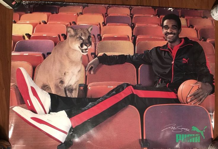"RARE VINTAGE 1985 RALPH SAMPSON PUMA SNEAKERS POSTER 32"" X 22"" UVA ROCKETS"