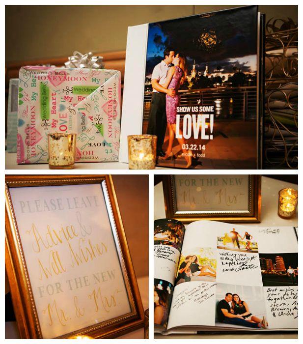 Wedding guest book ideas using engagement photos