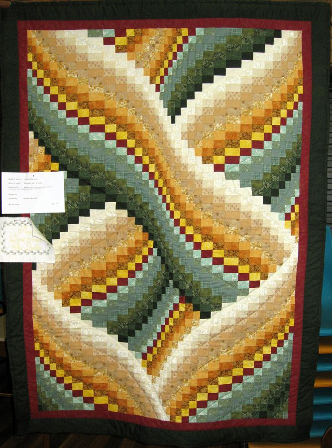 Quilt No:  17  Quilt Name:  Bargello With A Twist   Made By:  Heather Bennett   Pattern By:  Unknown  Quilted By:  Heather Bennett   Workshop at A&R Quilters Redcliffe 2014