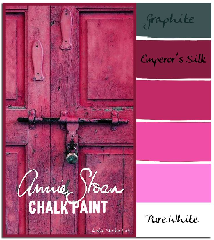 COLORWAYS    Annie Sloan's Chalk Paint, Emperor's    Silk, can be mixed with Pure White, to form deep to pale pinks. Layering over Graphite adds depth and texture.